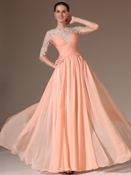 Peach Pleated Bodice Chiffon Prom Dress With Beaded Lace Applique