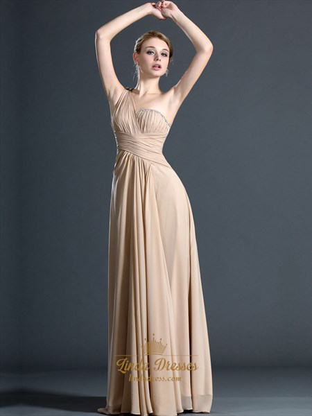 Champagne One Shoulder Ruched Chiffon Prom Dress With Beaded Detail