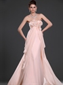 Show details for Pink Strapless Empire Side Draped Chiffon Prom Dress With Flower Detail