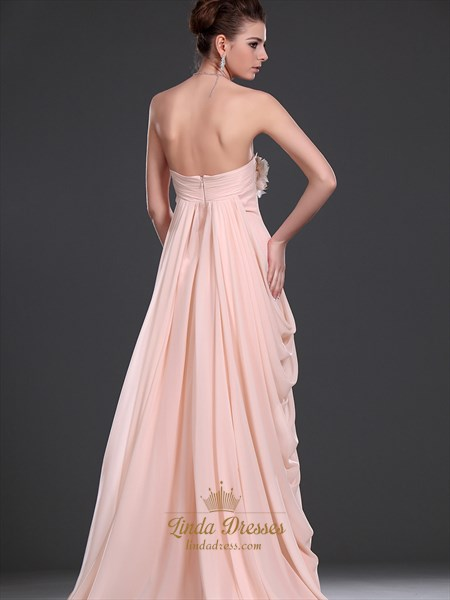Pink Strapless Empire Side Draped Chiffon Prom Dress With Flower Detail