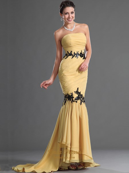 Gold Strapless Mermaid Chiffon Prom Dress With Applique Detail