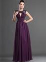 Elegant Grape Chiffon Sequin Floor Length Prom Dress With Open Back