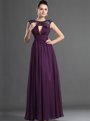 Elegant Grape Chiffon Sequin Floor Length Prom Dress With Open Back
