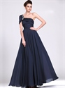Show details for Navy Blue One Shoulder Chiffon Bridesmaid Dresses With Beaded Straps