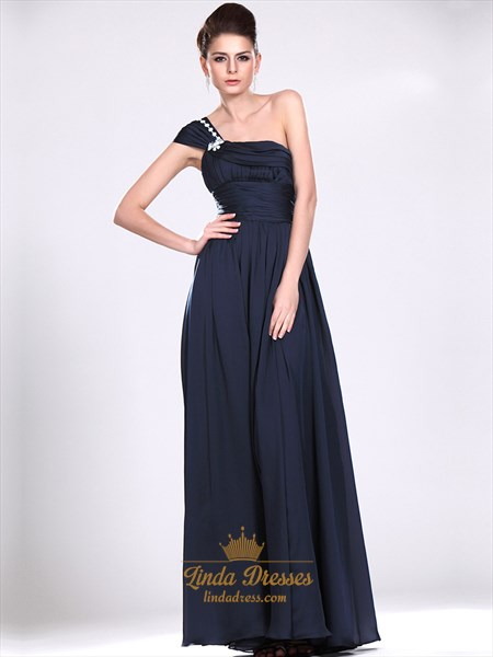 Navy Blue One Shoulder Chiffon Bridesmaid Dresses With Beaded Straps
