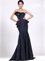 Navy Blue Mermaid Strapless Taffeta Prom Dress With Floral Detail