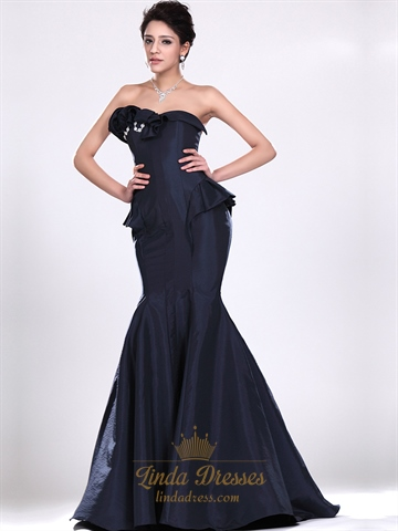 Navy Blue Mermaid Strapless Taffeta Prom Dress With Floral Detail ...