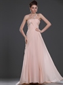Show details for Pink One Shoulder Empire Chiffon Bridesmaid Dress With Beaded Straps