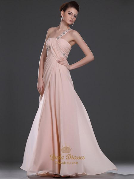 Pink One Shoulder Empire Chiffon Bridesmaid Dress With Beaded Straps
