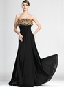 Show details for Black Strapless Chiffon Empire Prom Dress With Embellished Bodice