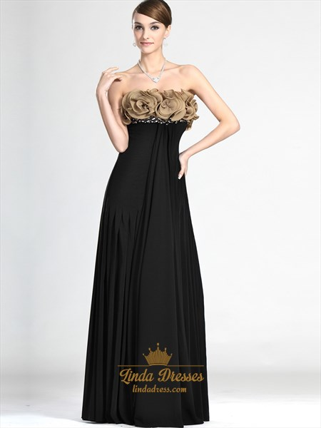Black Strapless Chiffon Empire Prom Dress With Embellished Bodice
