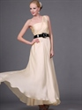 Show details for Champagne Chiffon One Shoulder Bridesmaid Dresses With Black Belt
