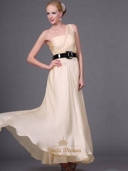 Champagne Chiffon One Shoulder Bridesmaid Dresses With Black Belt