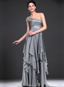 Gray One Shoulder Chiffon Beaded Prom Dress With Cascading Ruffle