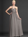 Show details for Gray Sweetheart Strapless Chiffon Bridesmaid Dresses With Pleated Bodice