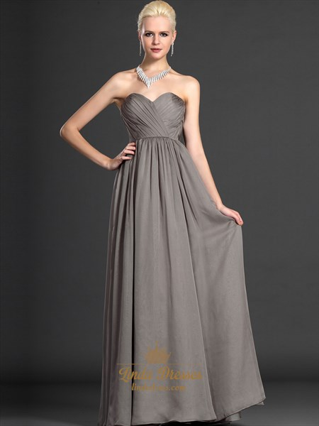 Gray Sweetheart Strapless Chiffon Bridesmaid Dresses With Pleated Bodice