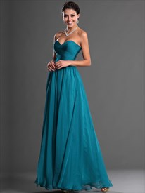 Teal Sweetheart Strapless Chiffon Bridesmaid Dresses With Ruched Bodice