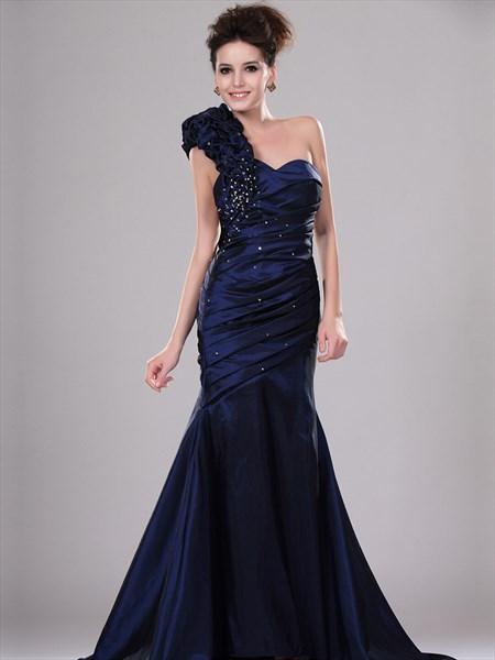 Navy Blue Single Strap Taffeta Mermaid Prom Dress With Beading