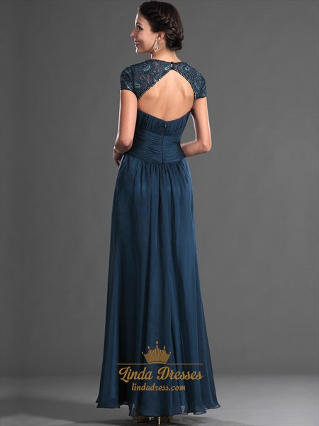 Teal Embellished Open Back Chiffon Prom Dress With Beaded Detail