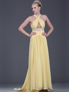 Yellow Chiffon Halter Prom Dress With Criss Cross Bodice And Full Skirt