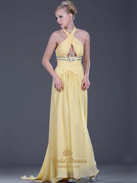Yellow Chiffon Halter Prom Dress With Criss Cross Bodice And Full Skirt