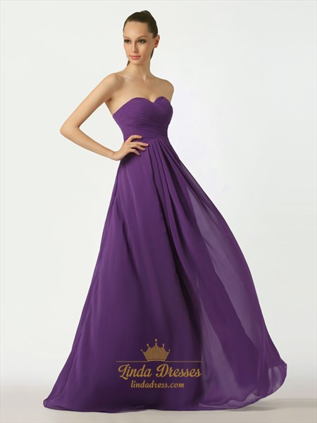 Purple Sweetheart Chiffon A-Line Bridesmaid Dresses With Lace Up Back