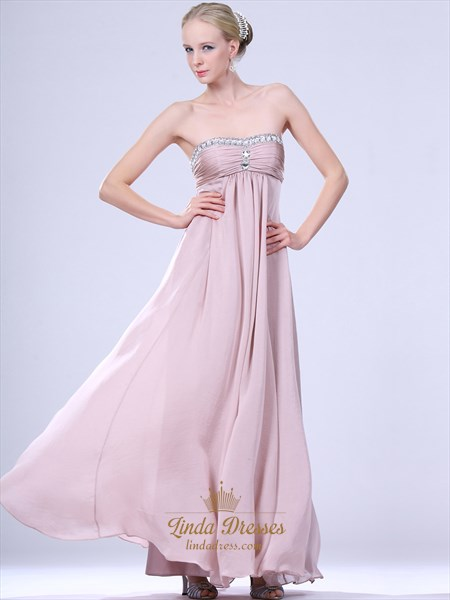 Show details for Light Pink Strapless Chiffon Bridesmaid Dresses With Empire Waist