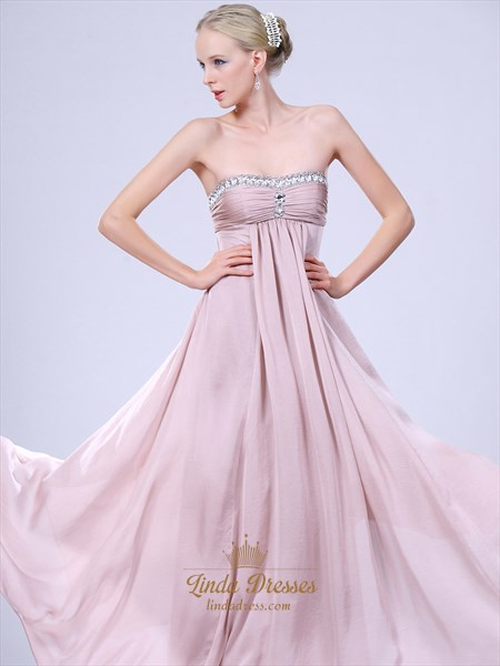 Light Pink Strapless Chiffon Bridesmaid Dresses With Empire Waist