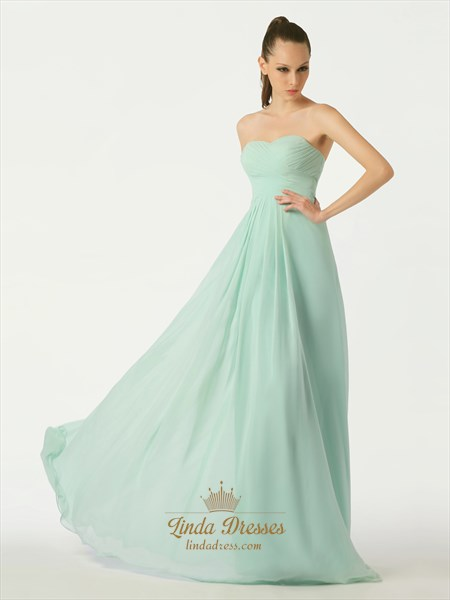Mint Green A-Line Sweetheart Chiffon Floor Length Bridesmaid Dresses