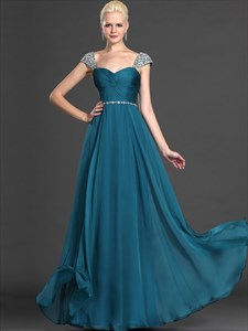 Teal Sweetheart Beaded Cap Sleeves Chiffon Prom Dress With Twist Front
