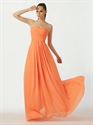 Show details for Orange Strapless Chiffon A-Line Bridesmaid Dresses With Pleated Bust