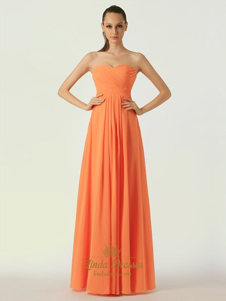 Orange Strapless Chiffon A-Line Bridesmaid Dresses With Pleated Bust