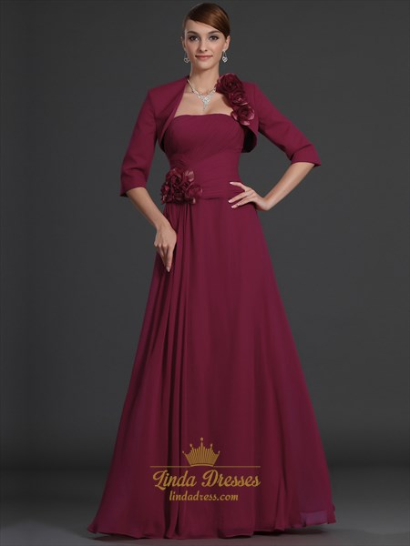 Burgundy Strapless Chiffon Mother Of The Bride Dress With Bolero Jacket