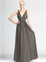 Show details for Grey Deep V Neck Floor-Length Chiffon Prom Dress With Ruched Bodice