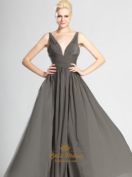 Grey Deep V Neck Floor-Length Chiffon Prom Dress With Ruched Bodice
