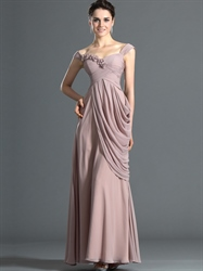 Pastel Pink Off The Shoulder Side Drape Prom Dress With Floral Detail