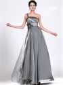 Show details for Grey Chiffon One Shoulder Prom Dresses With Floral Detail And Beading