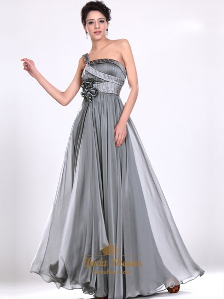 Grey Chiffon One Shoulder Prom Dresses With Floral Detail And Beading