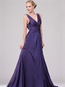 Show details for Purple V Neck Chiffon Ruched Bodice Prom Dresses With Beaded Back Detail