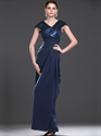 Show details for Navy Blue Sheath V Neck Mother Of The Bride Dress With Cap Sleeves