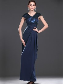 Navy Blue Sheath V Neck Mother Of The Bride Dress With Cap Sleeves