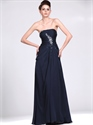 Show details for Navy Blue Strapless Column Chiffon Prom Dress With Beaded Detail