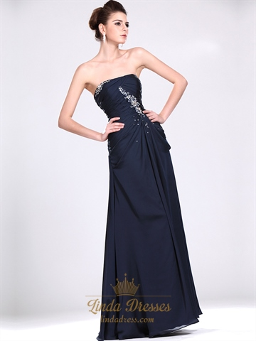 Navy Blue Strapless Column Chiffon Prom Dress With Beaded Detail ...