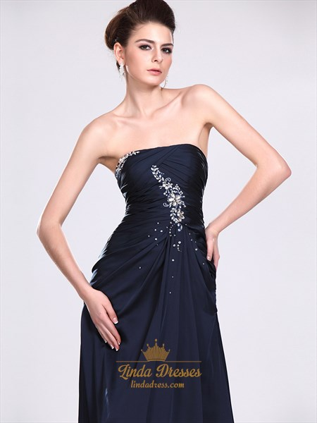 Navy Blue Strapless Column Chiffon Prom Dress With Beaded Detail