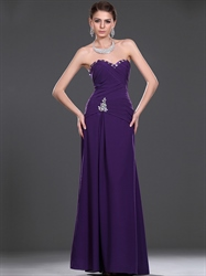 Purple Column Sweetheart Beaded Floor Length Chiffon Prom Dress