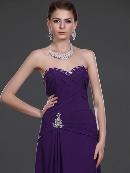 Purple Column Sweetheart Beaded Floor Length Chiffon Prom Dress