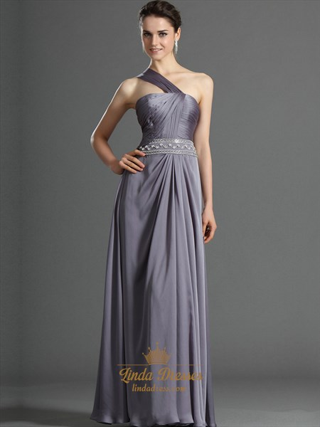 Grey One Shoulder A-Line Chiffon Long Bridesmaid Dresses With Beading