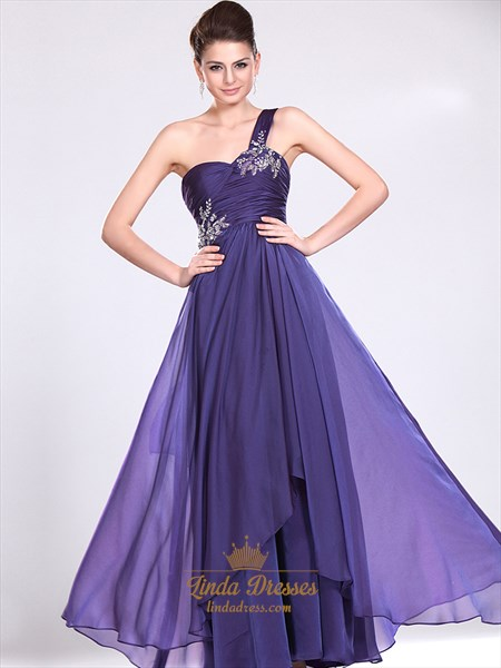 Show details for Purple One Shoulder Prom Dress With Ruched Bodice And Beaded Straps