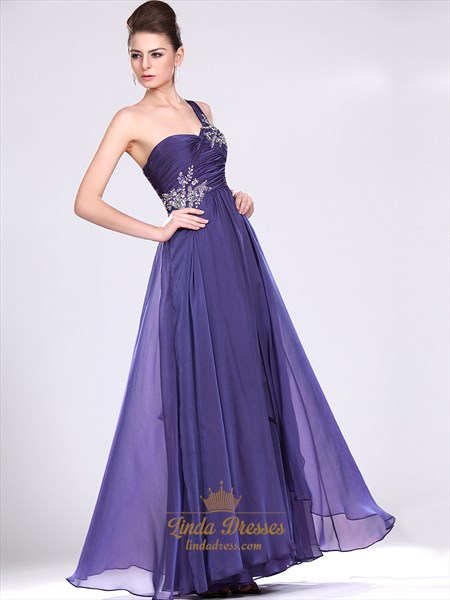 Purple One Shoulder Prom Dress With Ruched Bodice And Beaded Straps