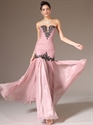 Show details for Pink Strapless Chiffon Long Prom Dress With Beaded Lace Applique